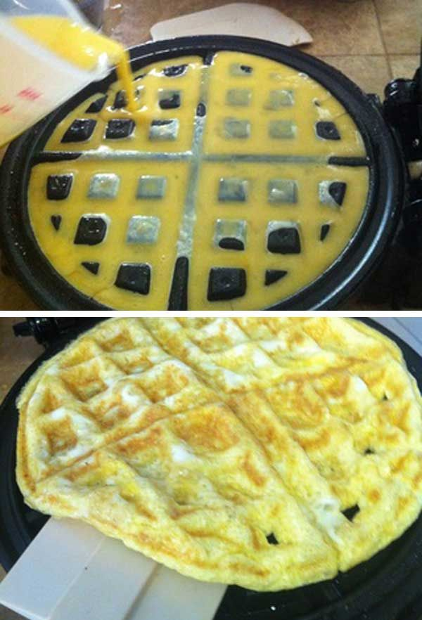 #8. Fried a breakfast egg in waffled style. - 15 Amazing Foods to Magically Make in a Waffle Iron
