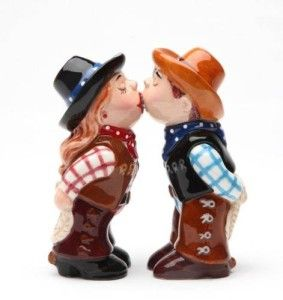 Cowboy And Cowgirl Kissing Starting the day with a quick kiss goodbye as each sets off to their tasks. http://theceramicchefknives.com/novelty-salt-and-pepper-shakers/ Cowboy And Cowgirl Kissing