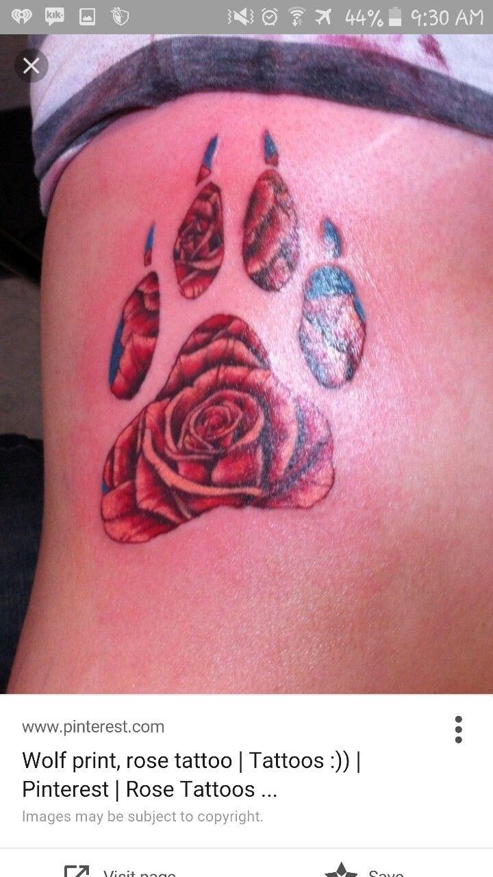 Rose And Bear Paw Print Wolf Tattoos Bear Paw Tattoos