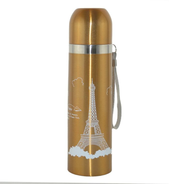 Vedar Home Stainless Steel Vacuum Flasks Cup Eiffel Tower With Rope Belt Capacity 17-Ounce. Stainless steel 16 oz vacuum thermos insulation keeps beverages hot for 12 hours or cold for 24, preserves flavor and freshness, 5 year warranty on heat retention. Perfect for coffee or tea. Durable and sanitary 304 stainless steel interior and exterior withstand the demands of everyday use. BPA free flip-top lid with built-in sipping design, button activated and additional clasp for secure travel....