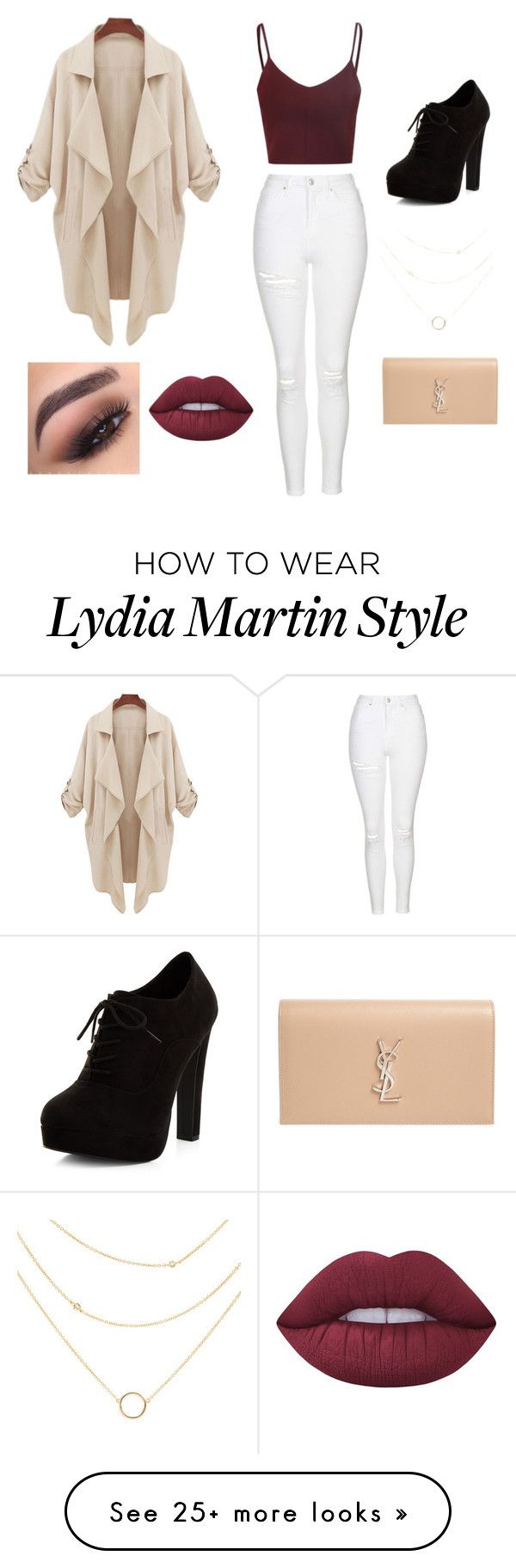 """Lydia Martin Inspired"" by esravalerio on Polyvore featuring Topshop, New Look, Yves Saint Laurent, Lime Crime and tarte"