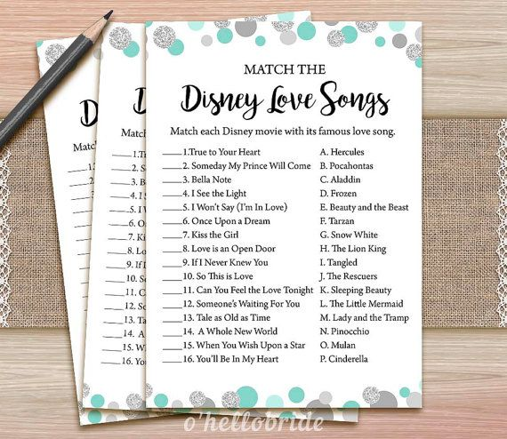 Disney Love Songs Bridal Shower Game Printable by ohellobride