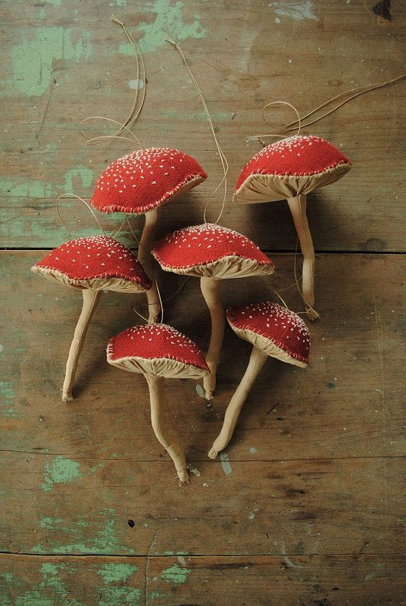 Two red mushroom hanging ornaments / Christmas ornaments / soft sculpture /  by Willowynn