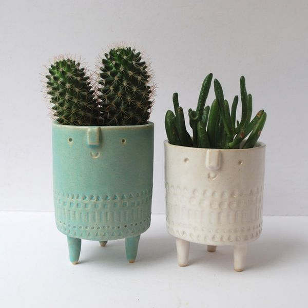 Image of Pair of medium tripod planters// turquoise + white //stamped