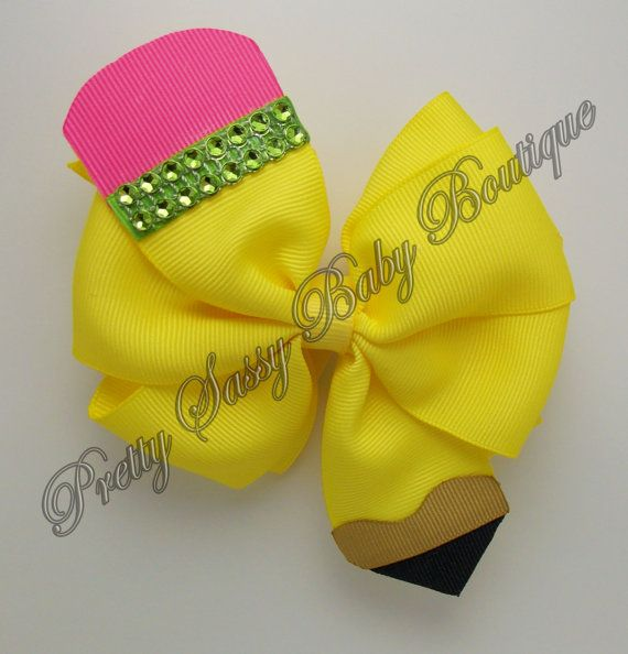 Back to School Pinwheel Hair Bow, Pencil Hair Bow, B2S, Double Stacked Bow, Pinwheel Bow, Yellow Bow
