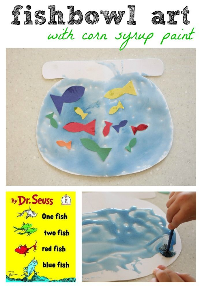"""Fishbowl Craft inspired by """"One Fish Two Fish Red Fish Blue Fish"""" by Dr. Seuss (with corn syrup paint)"""