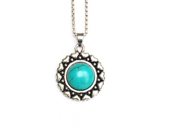charm pendant antique silver hearts turquoise bead by LonasART