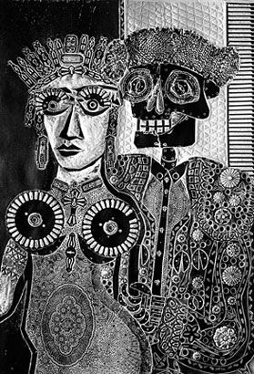 Ramona en España, 1968, xilocollage, 83 x 58 cm. Col. privada