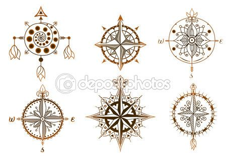 Set of vintage wind roses, compasses. Icons and design elements. — Stock Illustration #83135242