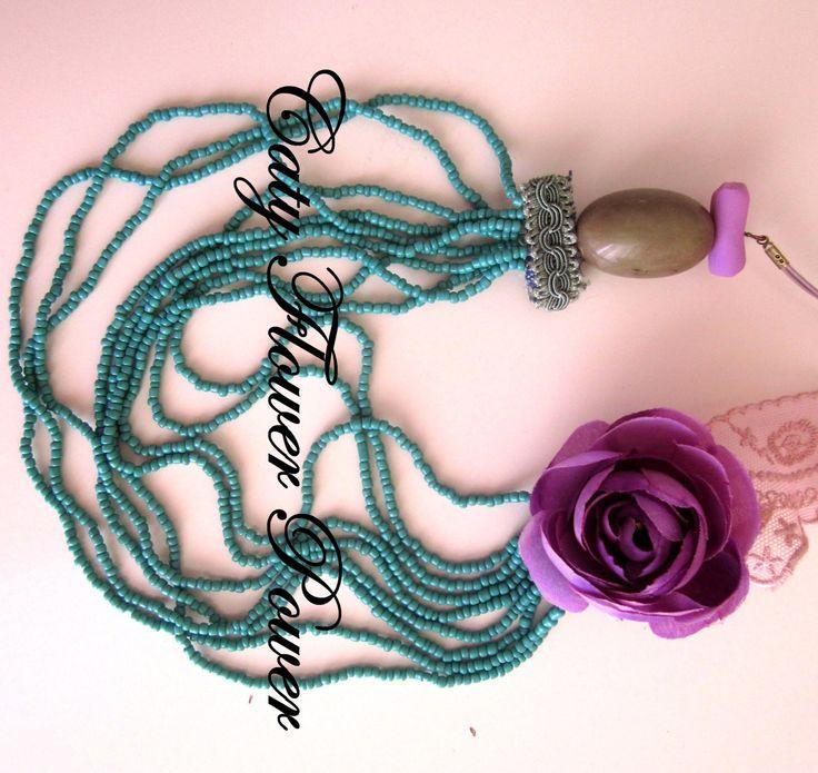 Purple Flower Necklace Multistranded Blue by catyflowerpower, $31.00