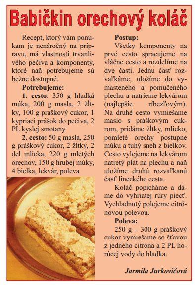 Ťahanovský orechový koláč - Recepty - Varecha.sk