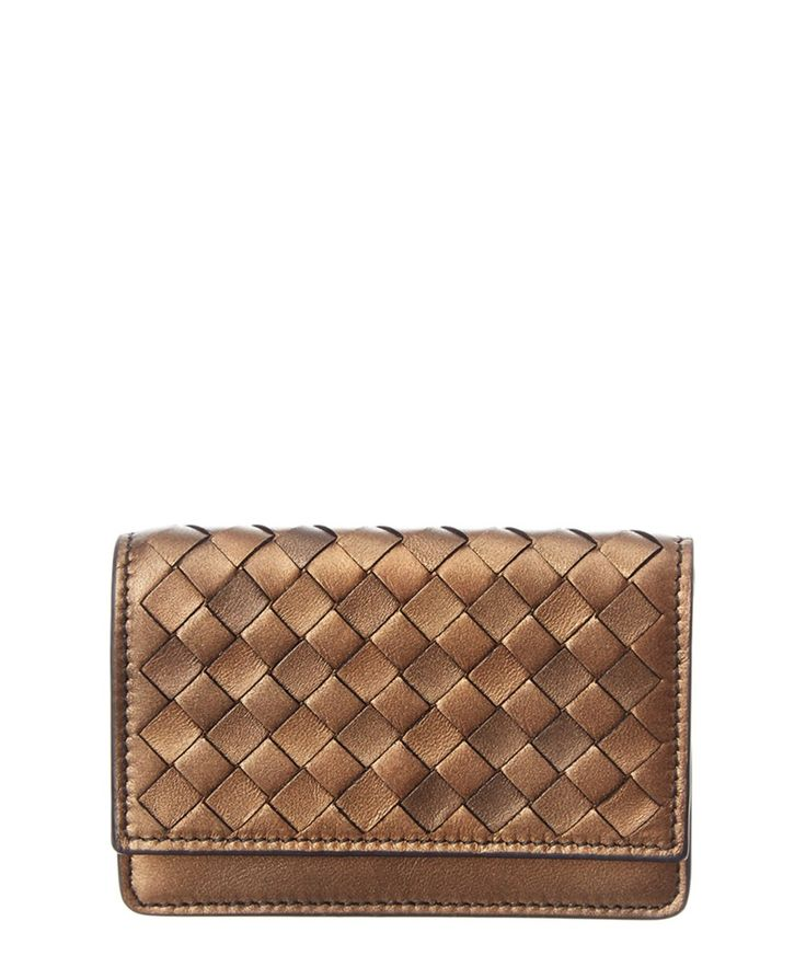 Bottega intrecciato nappa leather card case in gold