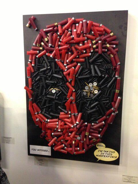 Deadpool's face in shotgun shells