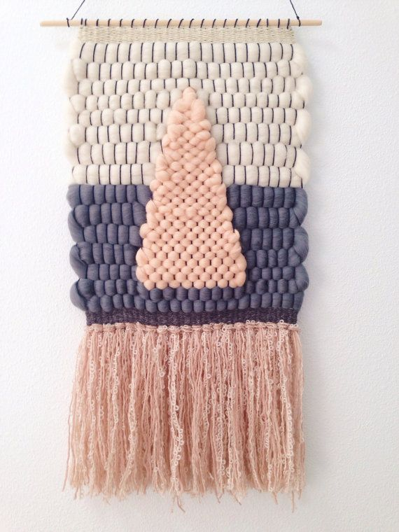 Hand Woven Wall Hanging / Weaving // Peach Cream & by WovenLaine, $110.00