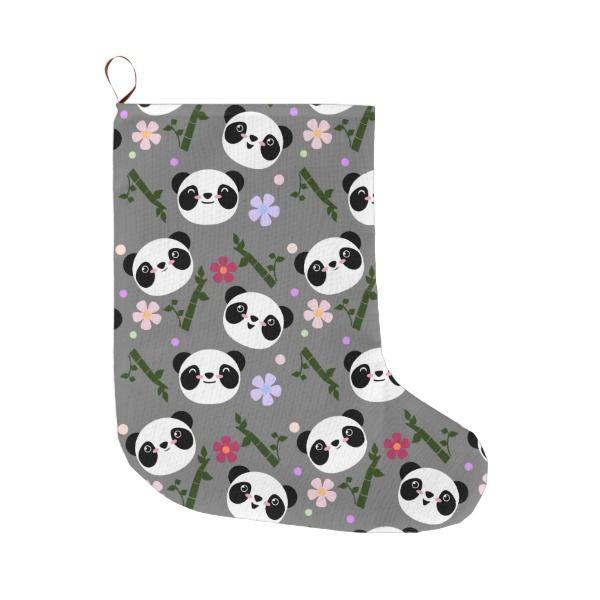 Kawaii Panda on Gray Large Christmas Stocking #stocking #christmas #sock #xmas