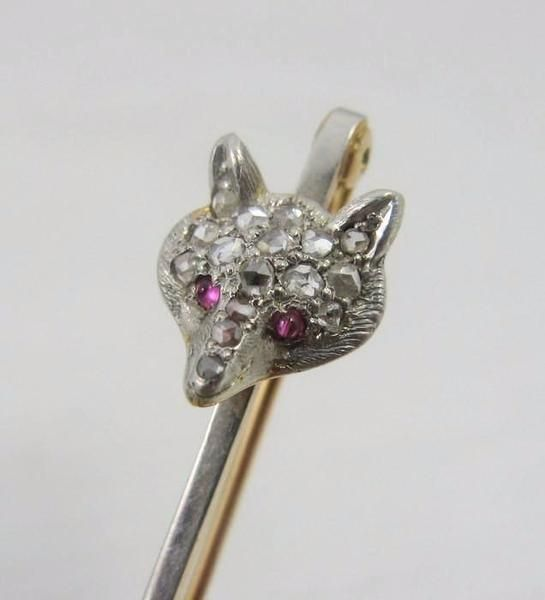 Rose Gold Edwardian Fox Head Stock Pin.