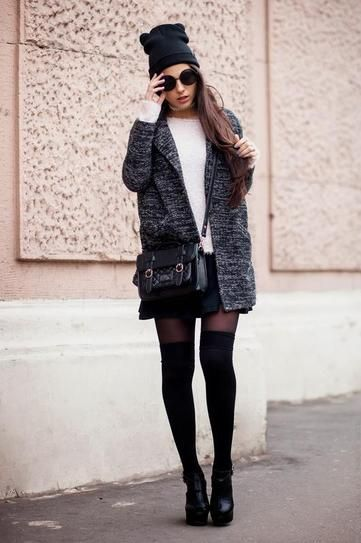 Fall/winter outfit - marled fall coat , fuzzy sweater and mini skirt. Worn with sheer tights + knee high socks with ankle boots and a charcoal beanie.