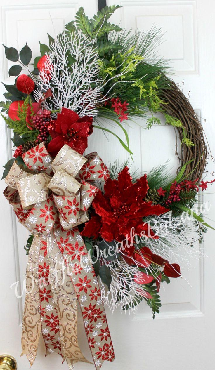Christmas Poinsettia Grapevine Wreath, by Wruffle Wreath by Lana on Etsy