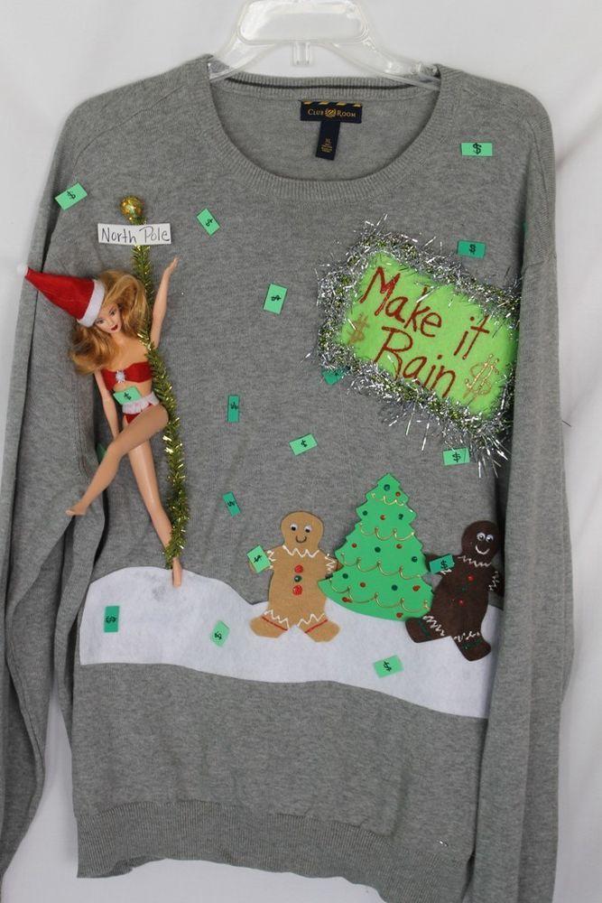 "Deb Rottum Ugly Naughty Christmas Sweater Stripper Barbie ""Make It Rain"" Size XL #unknown #crewneck"