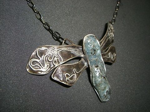 Necklace - dragonfly, kyanit-disten, cooper, tinned, Seemoon