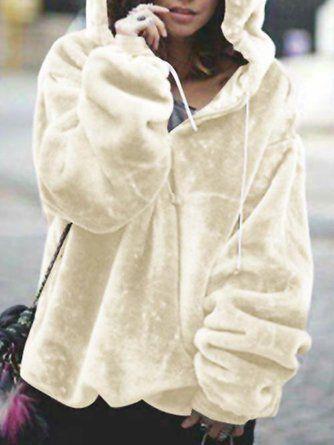 dd80c6ba7fc Zipper Long Sleeve Casual Solid Plus Size Teddy Bear Hoody -  JustFashionNow.com