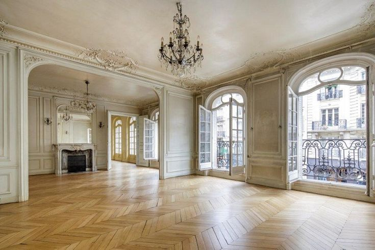 Herringbone floors, ornate moldings. (only not in a yellow toned finish) via: Haussmannien, Paris.