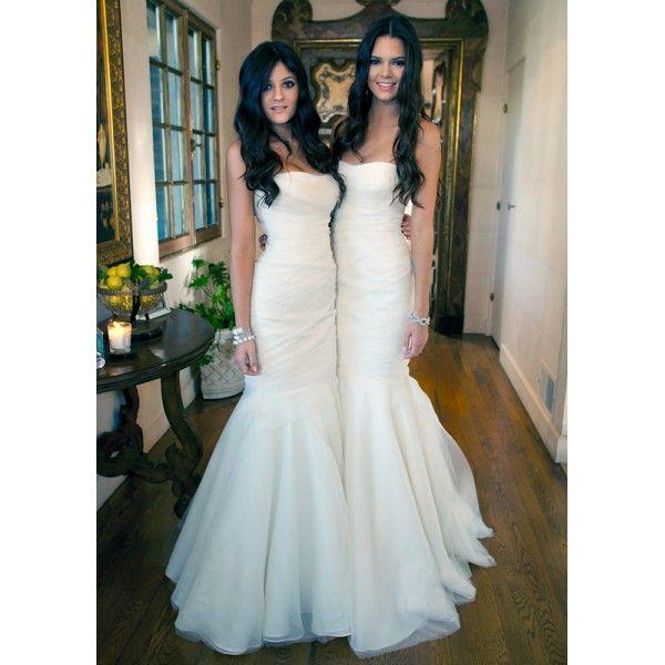 Kardashian Sisters White Strapless Mermaid Bridesmaid Dresses Wedding Dresses Kim Kardashian's Wedding
