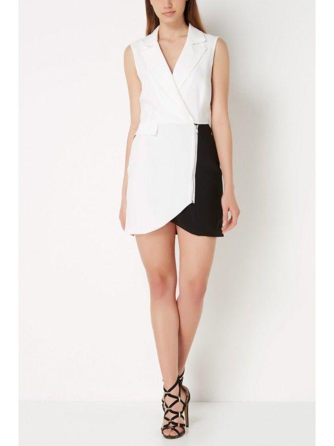 #Vestido corto de tirantes con falda bicolor, cremallera cruzada en falda y cuello camisero. Colección #Almagores primavera verano 2016. #Fashion #Moda #Vestidos #Dress