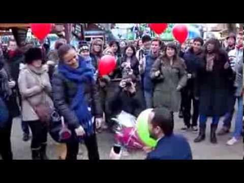 LOVE LOVE LOVE A winter wonderland flash mob marriage proposal in London SURPRISE PROPOSAL, WINTER WONDERLAND