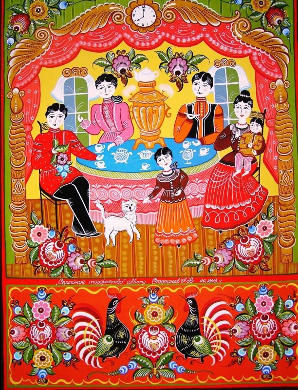 Folk Gorodets painting from Russia. Family idyll at the tea-table and floral patterns with cockerels
