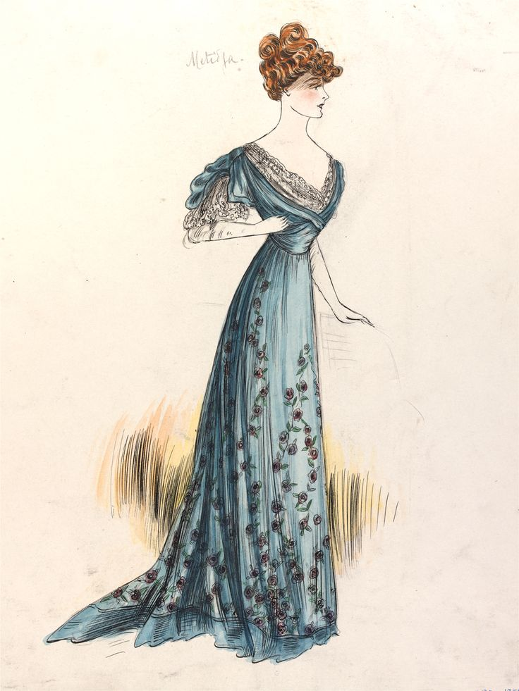 Jeanne Paquin (1869-1936), fashion design, Paris, 1906. Museum no. E.1371-1957. This evening dress design, entitled 'Matilda', was for the winter collection of 1906. The V&A