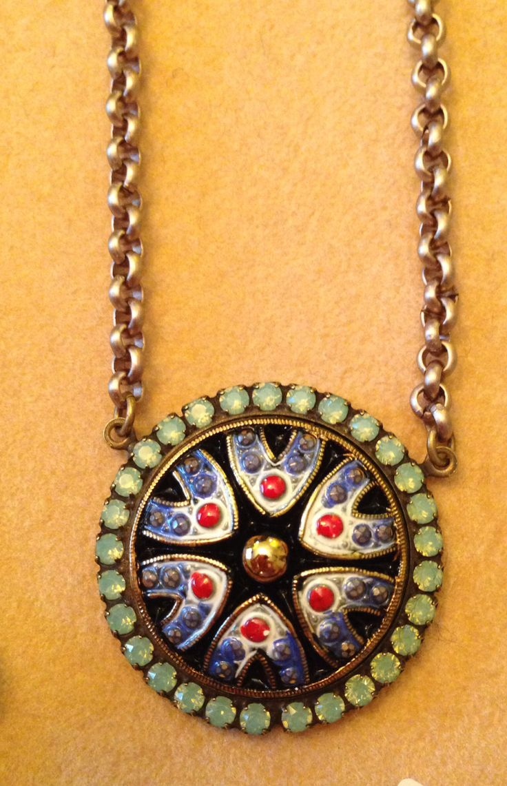 Sabika Look Necklace - Sabika close up hand painted czech button contact me to place an order