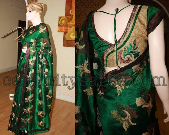 Dark Green Uppada Silk Saree with Stylish Blouse   Saree Blouse Patterns