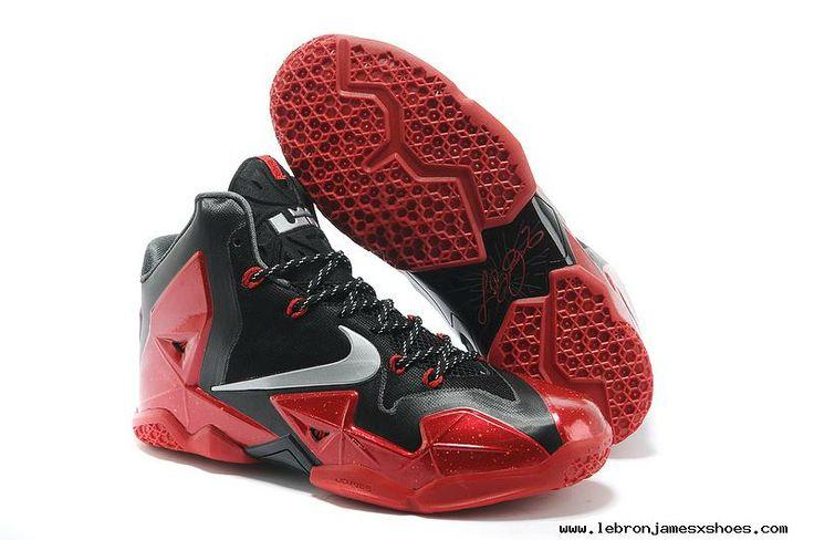 Authentic Black/Metallic Silver-University Red-Bright Crimson Womens Nike  LeBron 11 For Christmas