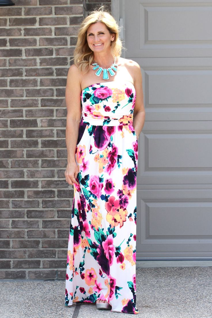 Bright Floral Strapless Maxi Dress