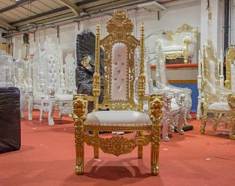 BRAND NEW - Lion King Queen Throne Chair Gold leaf gilded gilt - weddings furniture thrones ornate baroque rococo french leather white