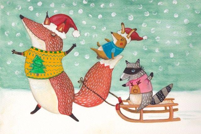sleeënde dieren ★ Stitched Creatures uit de zelfgemaakte kerstkaartenwinkel
