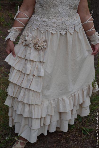 Платья ручной работы. Ярмарка Мастеров - ручная работа. Купить платье  стиль Бохо  Винтаж. Handmade. Бежевый, для девушек, молния