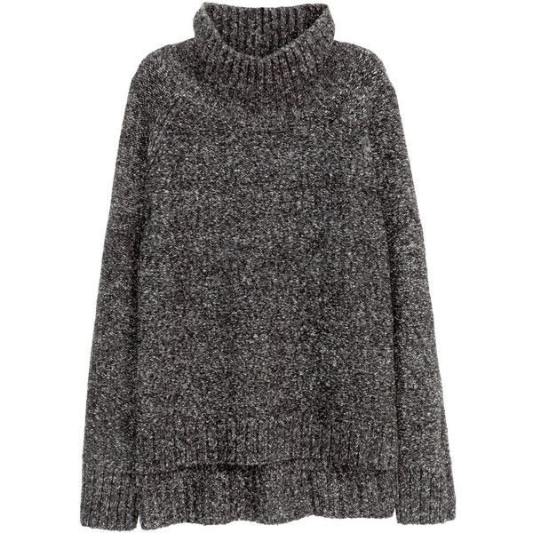 H&M Knitted polo-neck jumper found on Polyvore featuring tops, sweaters, h&m, long sleeve tops, dark grey marl, dark grey sweater, h&m jumper, h&m sweater, marled sweater and jumpers sweaters