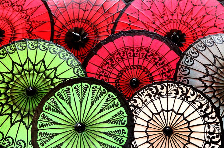 Achim on flickr, Parasol Pattern, seen at a sales stand in Bagan, Myanmar, 2013
