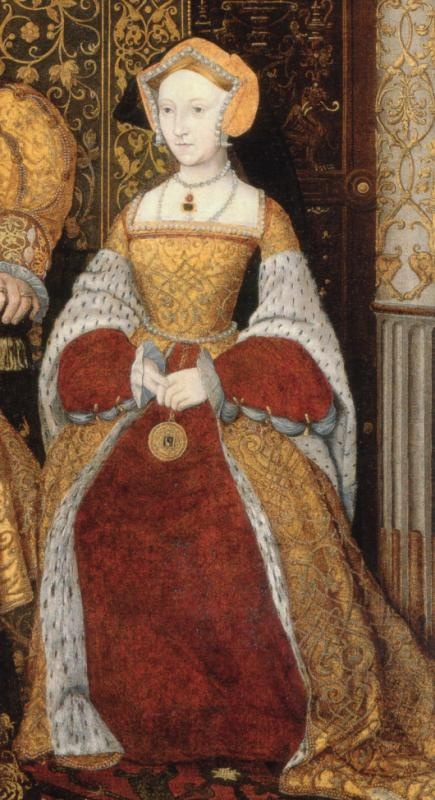 Some inspiration for my tudor gown: Jane Seymour, third and favorite wife of Henry VIII. She is portrayed posthumously in a 1545 family painting of Henry VIII and his children.
