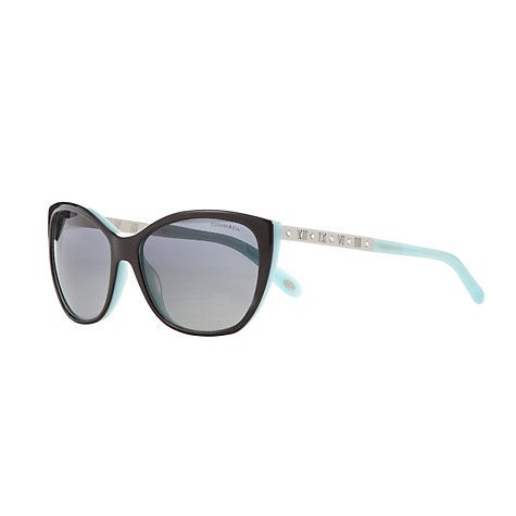 Buy Tiffany & Co TF4094B Polarised Sunglasses, Black/Blue Online at johnlewis.com