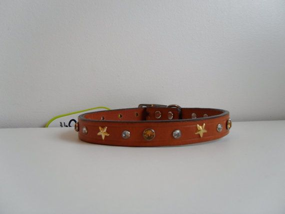 "Amber Stars Bling Leather Dog Collar by StarBoundWestern on Etsy,   Genuine Leather, 13"" Collar   $35.00"