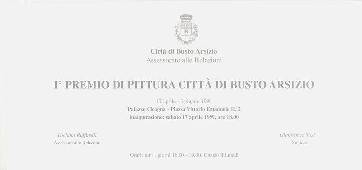 """""""I° Premio di pittura città di Busto Arsizio"""", 1999, Printed cardboard, 21 x 10 cm."""