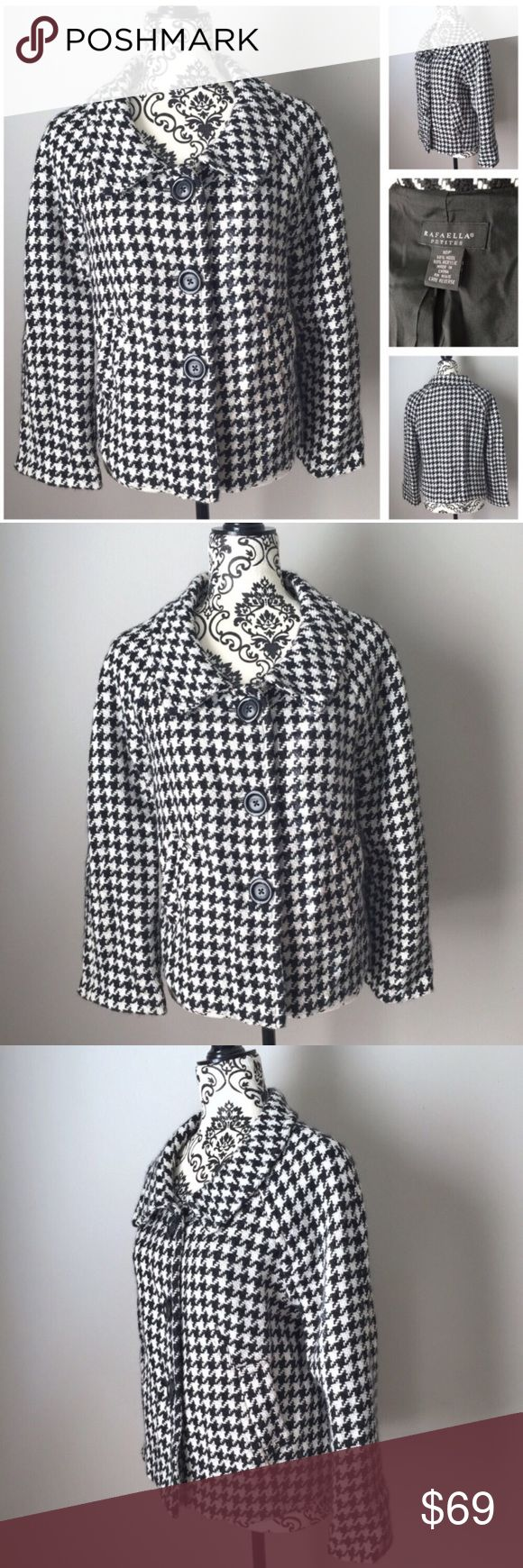 """Classic black and white houndstooth lined coat Rafaella black and white houndstooth lightweight coat or jacket.  Long sleeves - approximately 15"""" from cuff to armpit. Armpit to armpit - 20"""" laid flat.  Length from top of shoulder to hem - 22"""".  Has two working side pockets.  Fully lined.  50% wool / 50% acrylic is dry clean only.  Worn 2-3x and dry cleaned - still has dry cleaning tag attached inside left wrist area as shown.  EUC with no rips, stains or tears! Rafaella Jackets & Coats"""