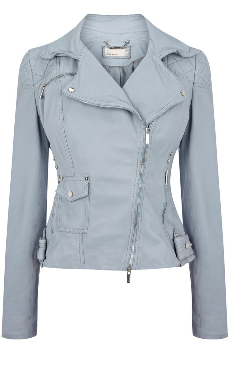 Hellblaue Lederjacke  Karen Miller LOVE!  Too bad I broke up with leather - how I wish there was a faux version!