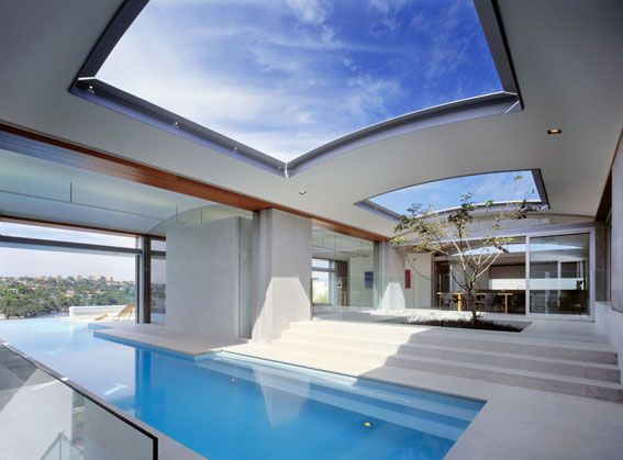 Indoor/Outdoor pool with a skylight that doubles the indoor/outdoor effect..awesome