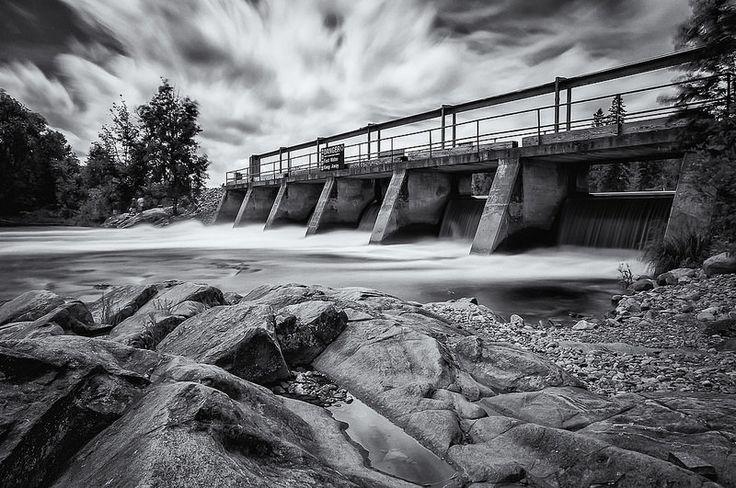 Madawaska River Dam. This image is of a dam on the Madawaska River, in Whitney, Ontario.