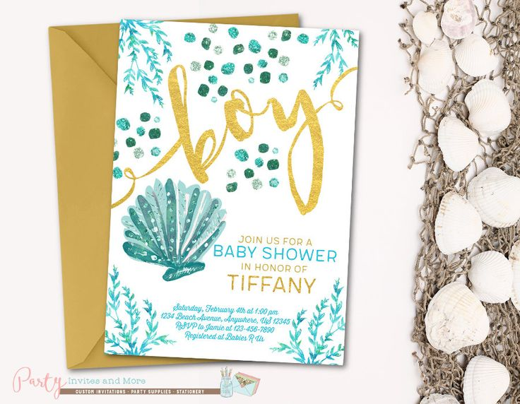 Under the Sea Baby Shower Invitation, Beach Baby Shower Invitation, Seashells Baby Shower Invitation, Under the Sea Invitation, Boy by PartyInvitesAndMore on Etsy https://www.etsy.com/listing/506313805/under-the-sea-baby-shower-invitation