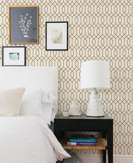 for claire's room? Geometric Hexagon Wallpaper - Gold - Peel and Stick